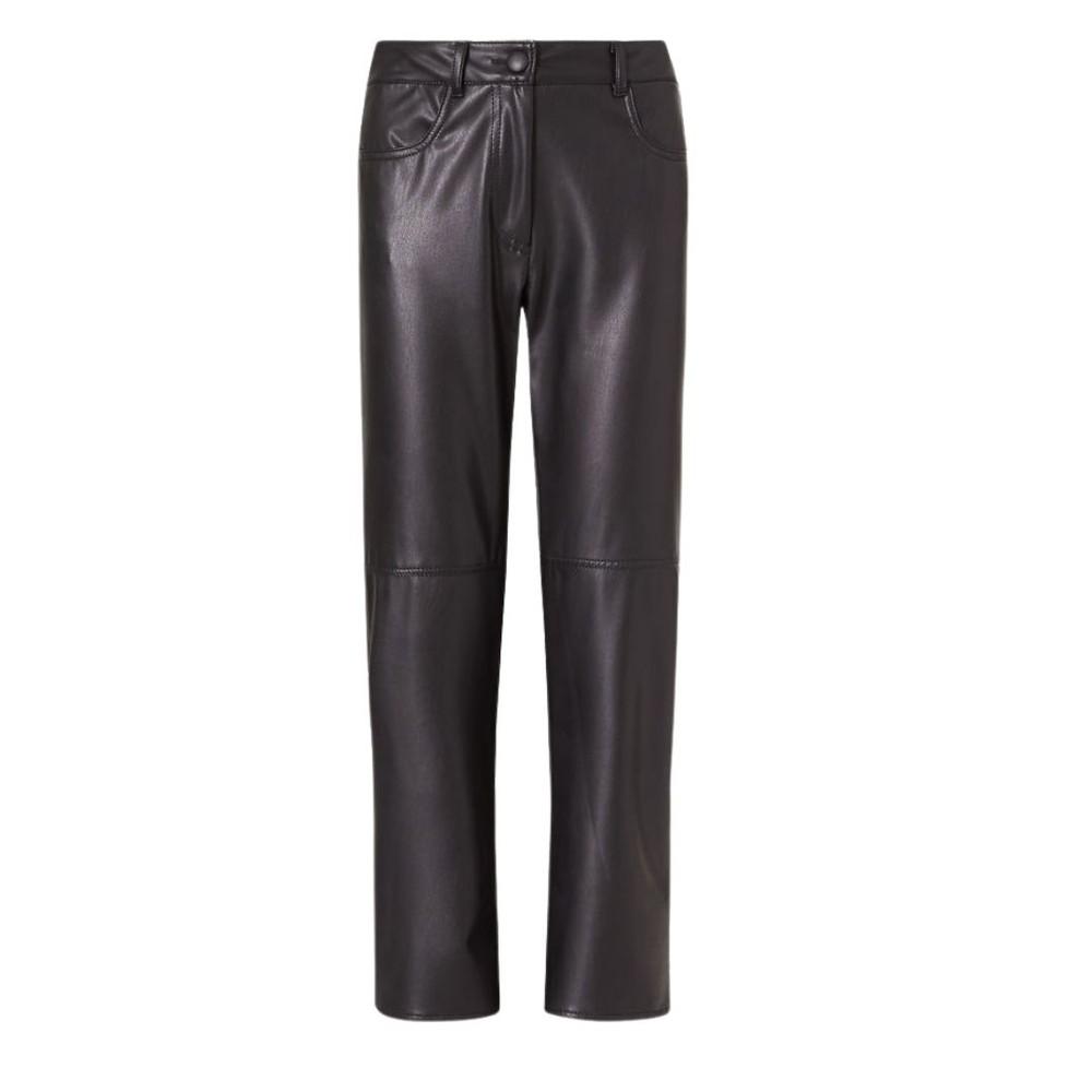 Marella Valdena Faux Leather Straight Trousers Black