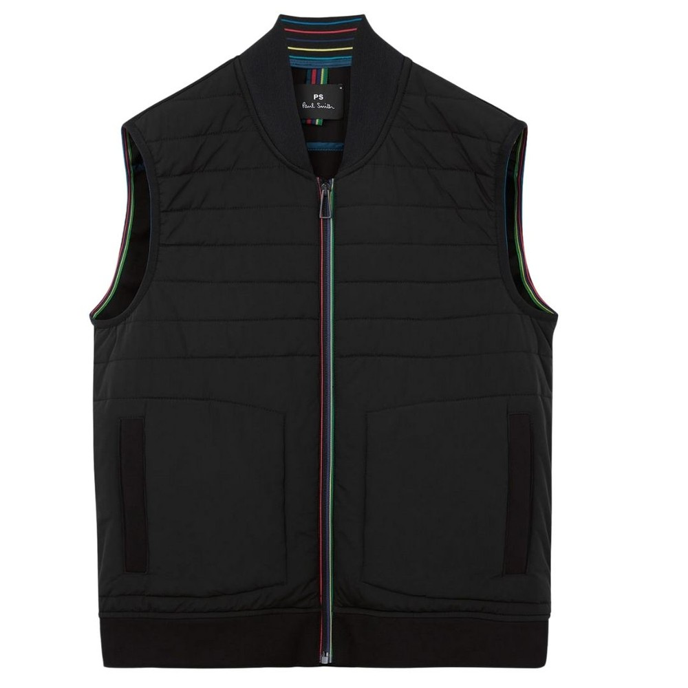 PS Paul Smith Mixed Media Gilet With 'Sports Stripe' Zip Black