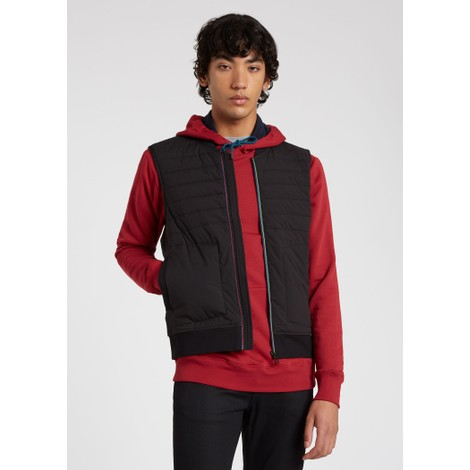 PS Paul Smith Mixed Media Gilet With 'Sports Stripe' Zip