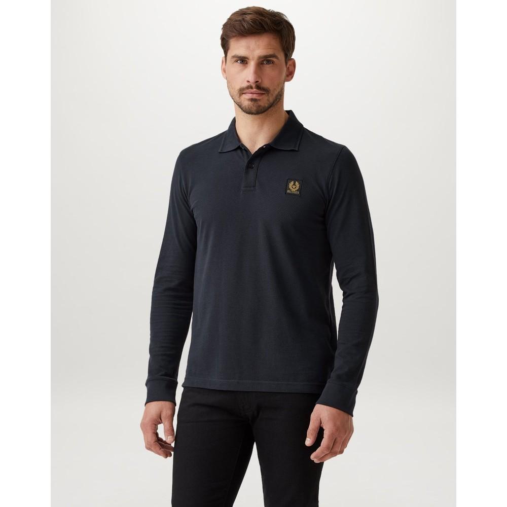 Belstaff Essential Long Sleeve Polo Shirt Black