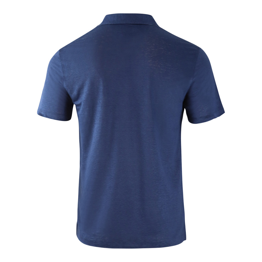 Hackett Linen Trim Short Sleeve Polo Navy