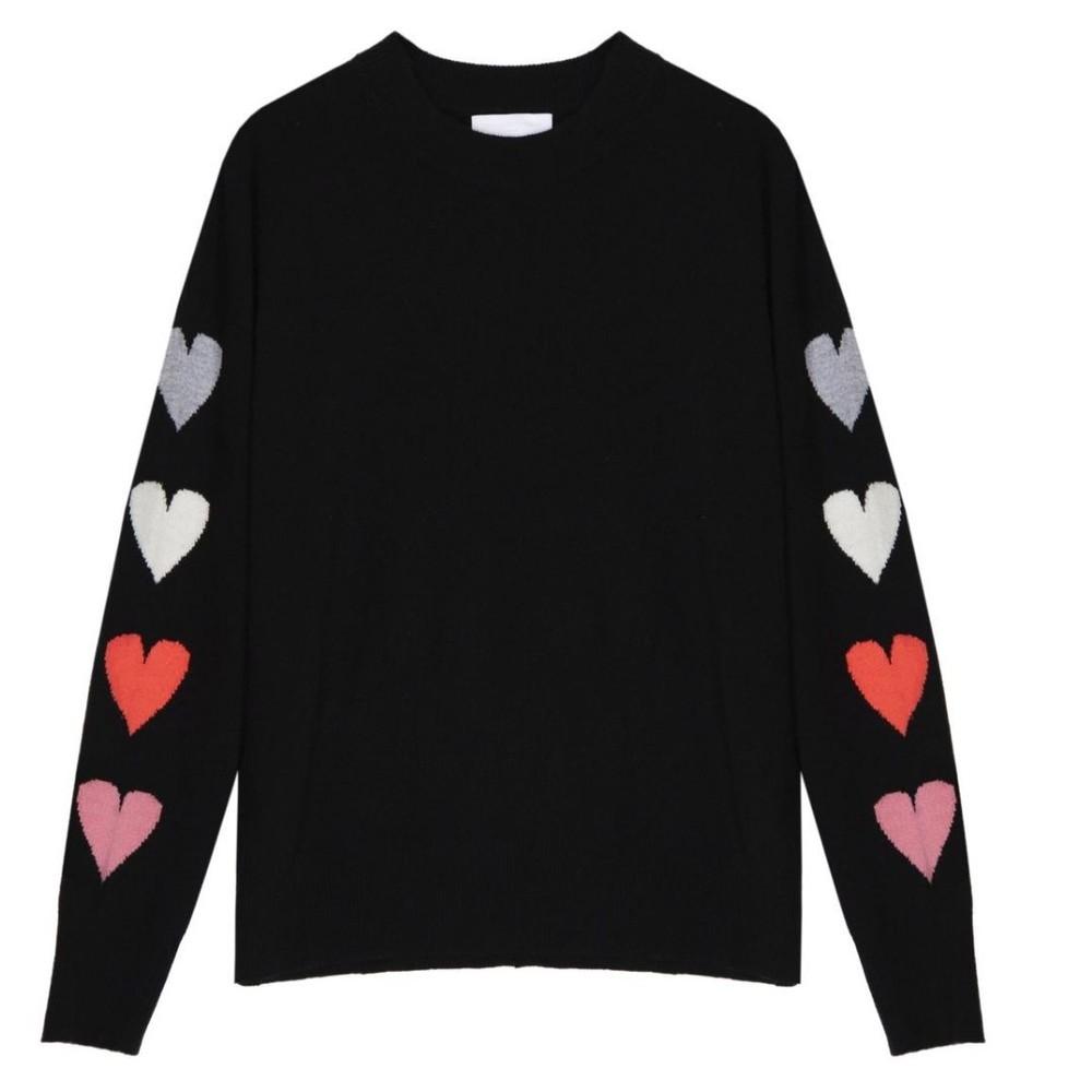 Cocoa Cashmere Mina Black Hearts Cashmere Jumper Black