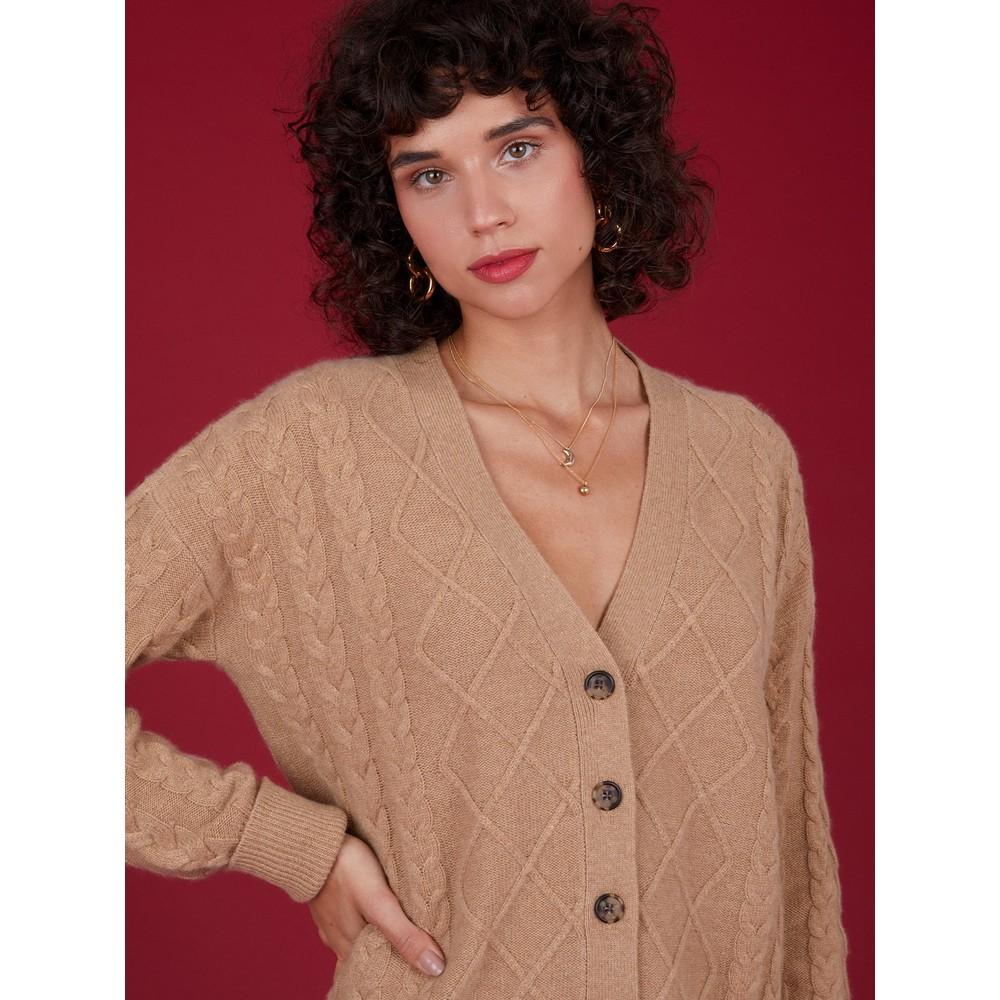 Cocoa Cashmere Tegan Cable Cashmere Cardigan Camel