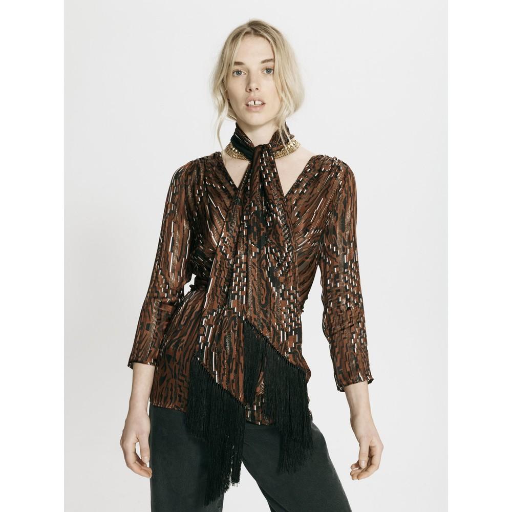 Hayley Menzies Aztec Tiger Silk Fringe Scarf Black/Brown