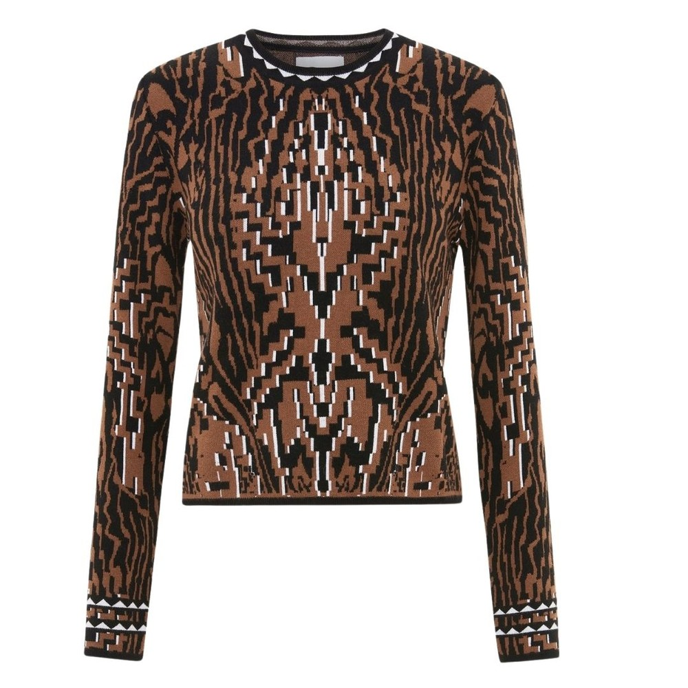 Hayley Menzies Aztec Tiger Jacquard Fitted Jumper Black/Brown