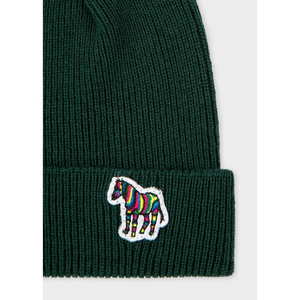 PS Paul Smith Zebra Logo Ribbed Lambswool Beanie Hat Green