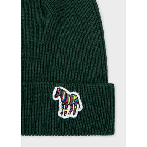 PS Paul Smith Zebra Logo Ribbed Lambswool Beanie Hat