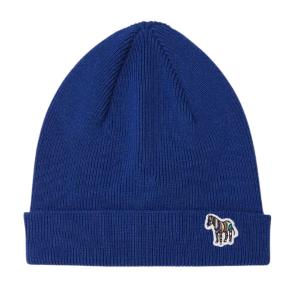 PS Paul Smith Zebra Logo Ribbed Lambswool Beanie Hat Royal Blue