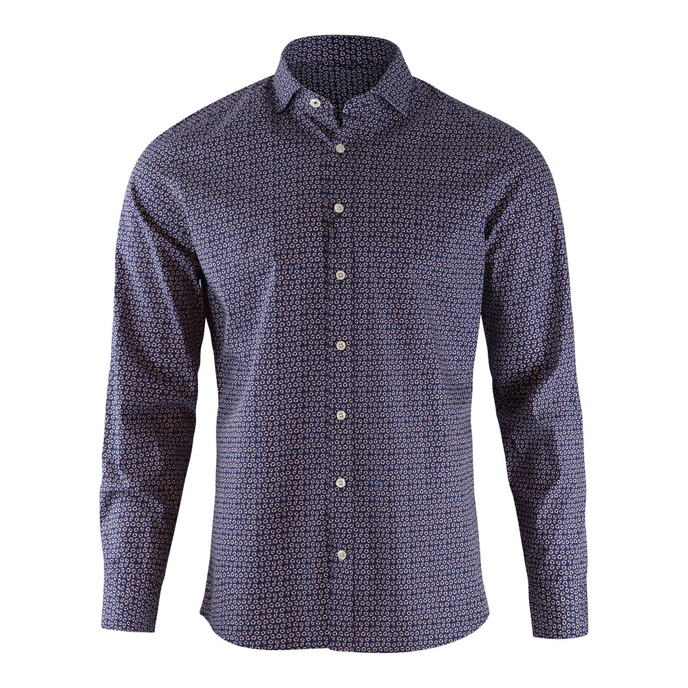 Hackett Kent Slim Fit Lifesaver Print Shirt Navy