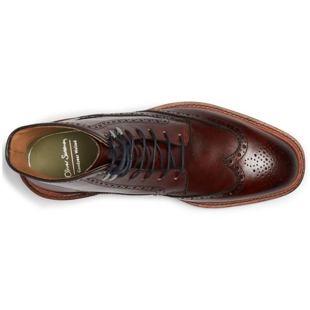 Oliver Sweeney Carnforth Leather Brogue Boots Mahogany