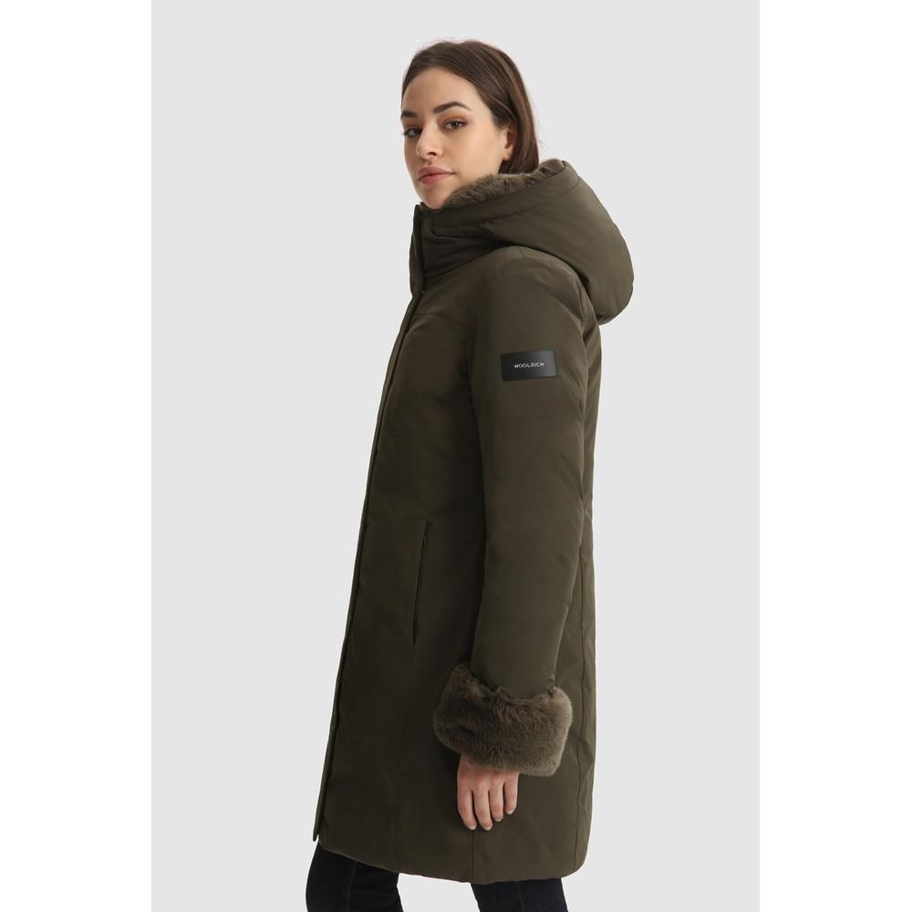 Woolrich Womenswear Luxury Boulder Faux Fur Parka Green