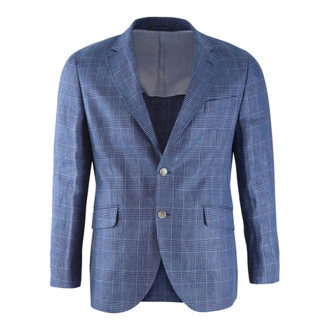 Hackett Blue Linen Glen Check Blazer