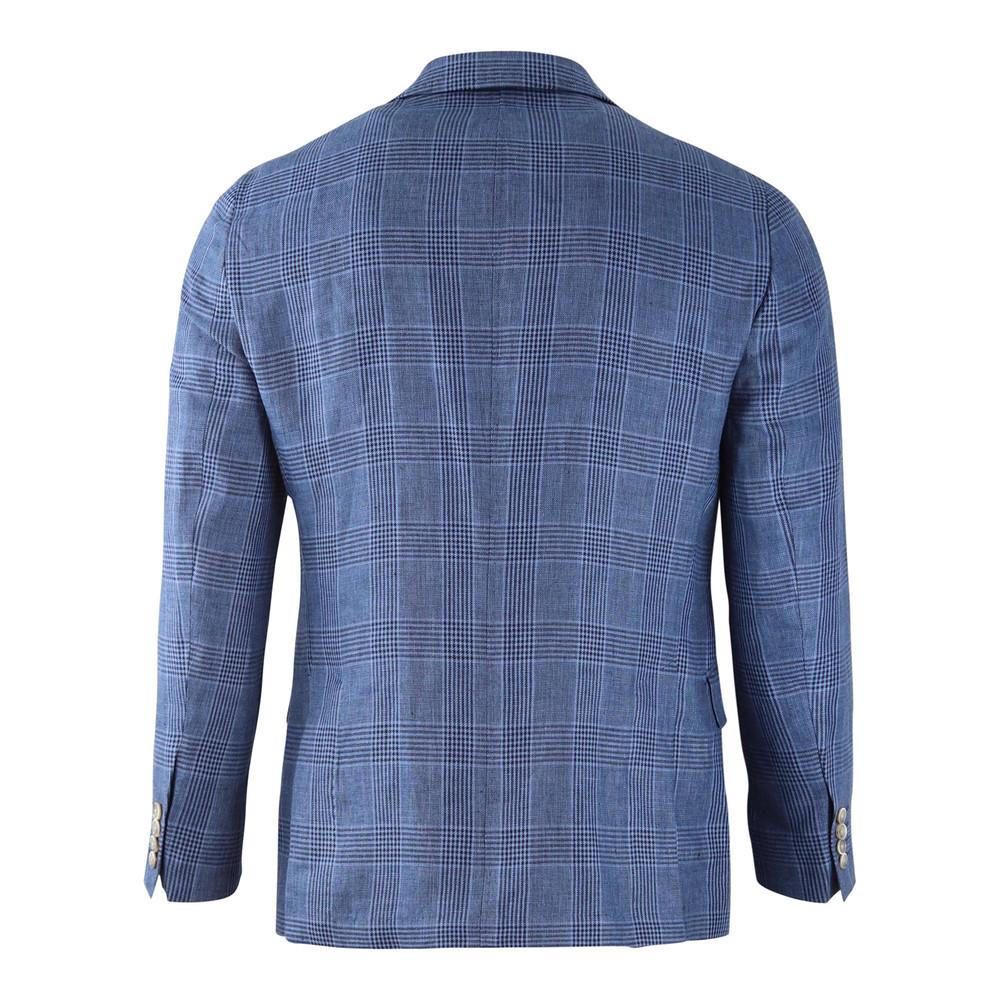 Hackett Blue Linen Glen Check Blazer Blue