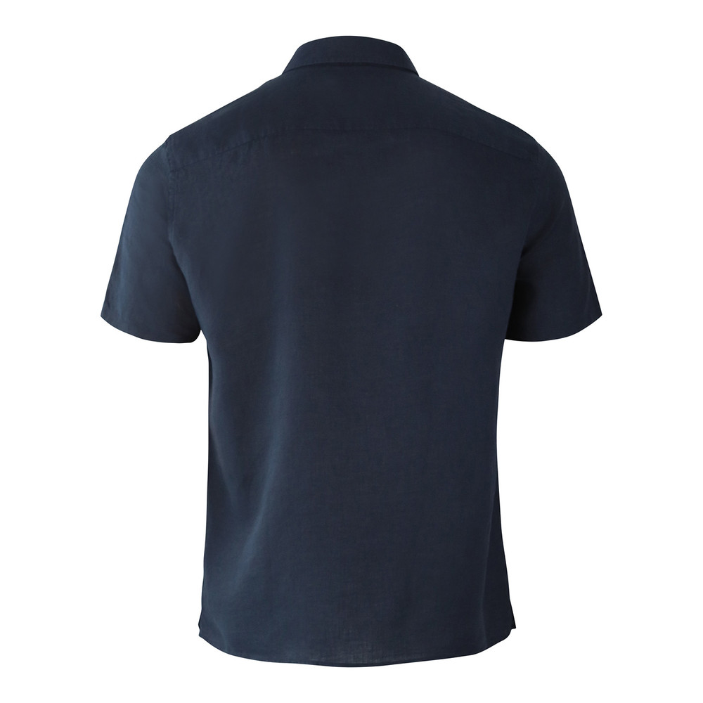 J.Lindeberg Daniel Short Sleeve Linen Melange Shirt Navy