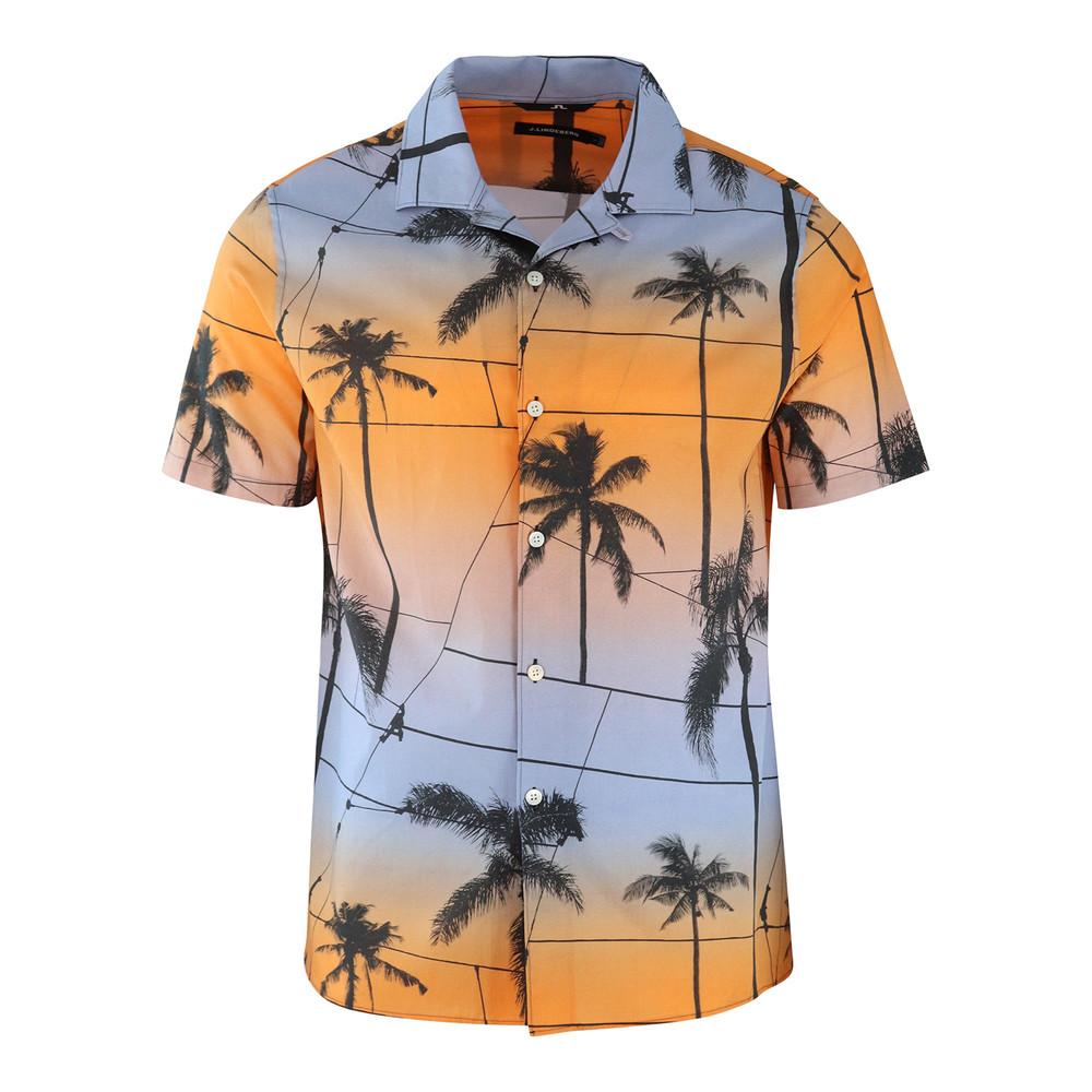 J.Lindeberg David Short Sleeve Resort Printed Palm Shirt Orange