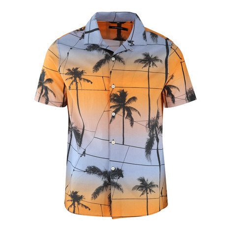 J.Lindeberg David Short Sleeve Resort Printed Palm Shirt