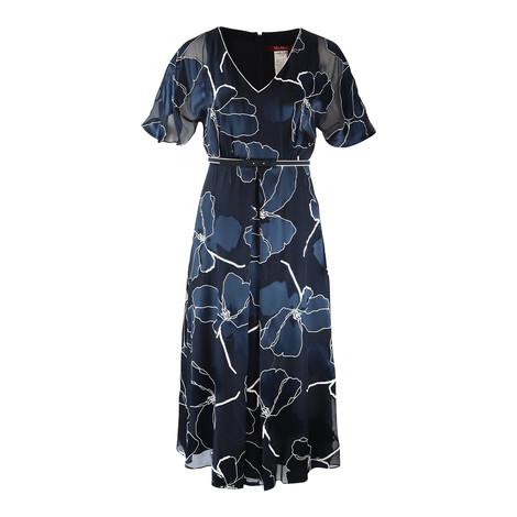 Maxmara Studio Navy and White Patterned Silk Dress