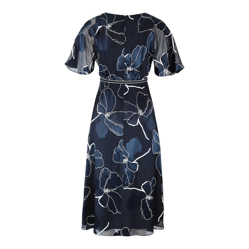 Maxmara Studio Navy and White Patterned Silk Dress Navy and White