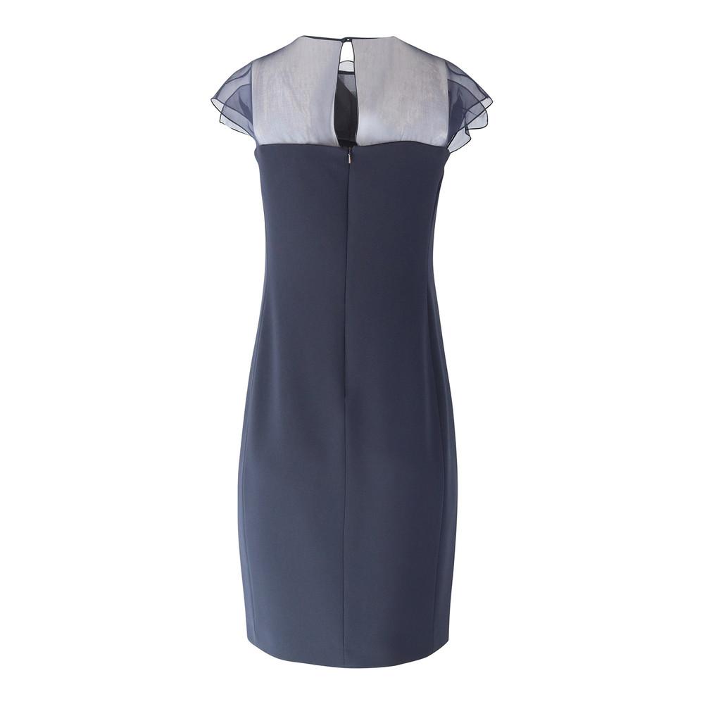 Maxmara Studio Navy Sleeveless Dress with Organza Trim Navy