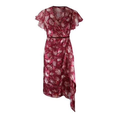 Maxmara Studio Frilled Silk Sleeve Cherry Dress