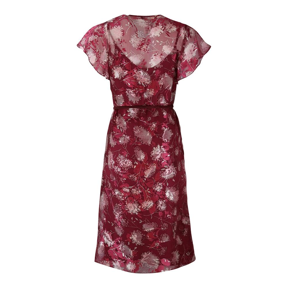 Maxmara Studio Frilled Silk Sleeve Cherry Dress Red