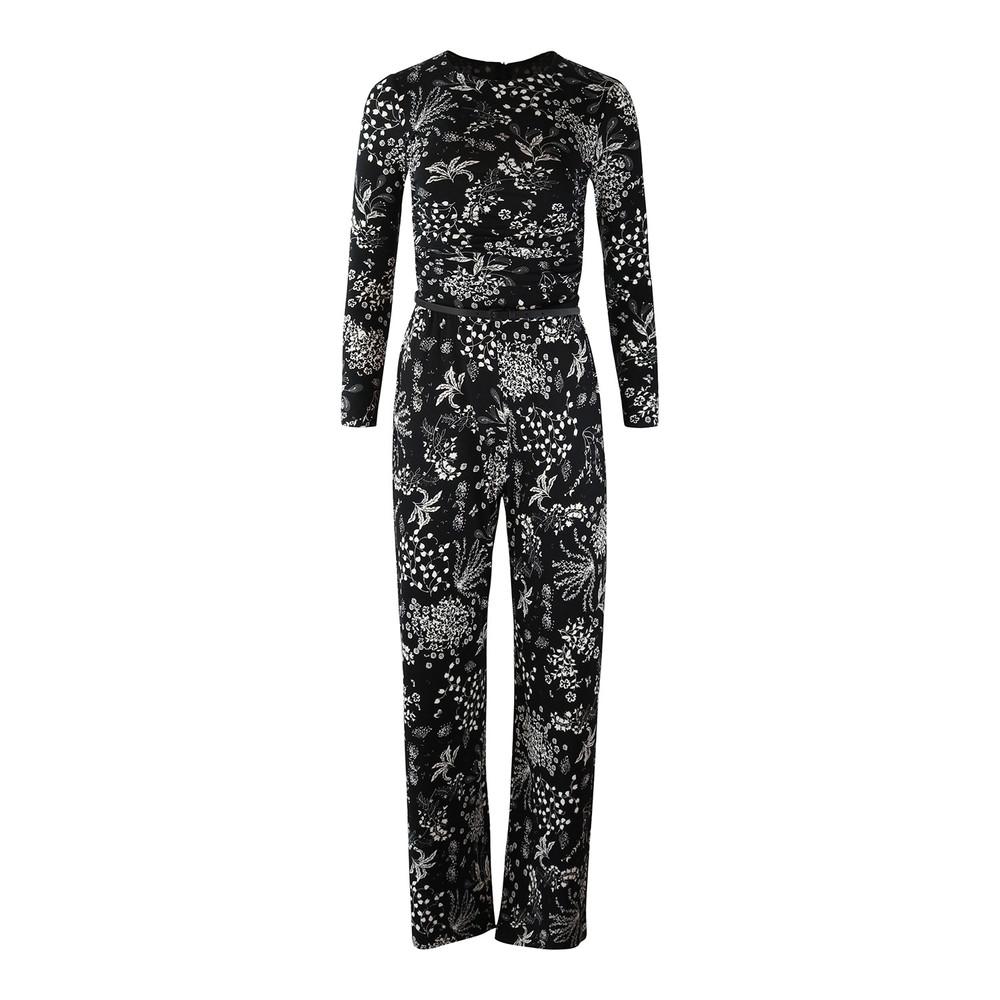 Maxmara Studio Black and White Floral Jumpsuit Black