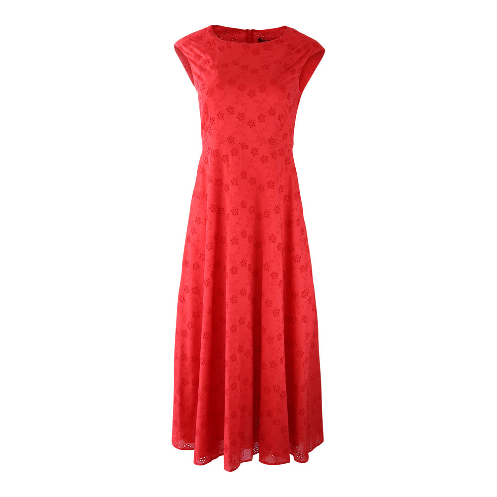 Maxmara Studio Embroidery Anglaise Dress Red