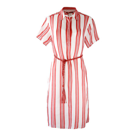 Maxmara Studio Short Sleeve Red and White Shirt Dress