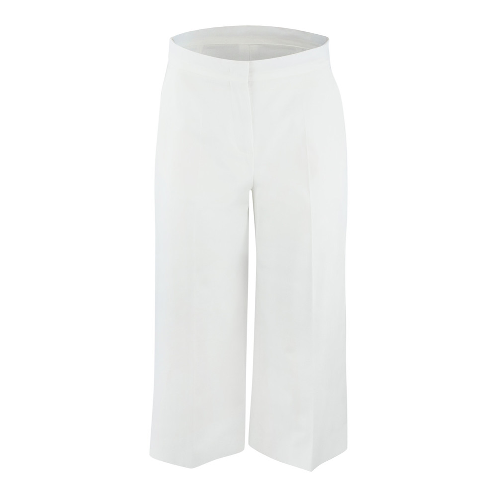 Maxmara Studio Cropped White Cotton Trouser White