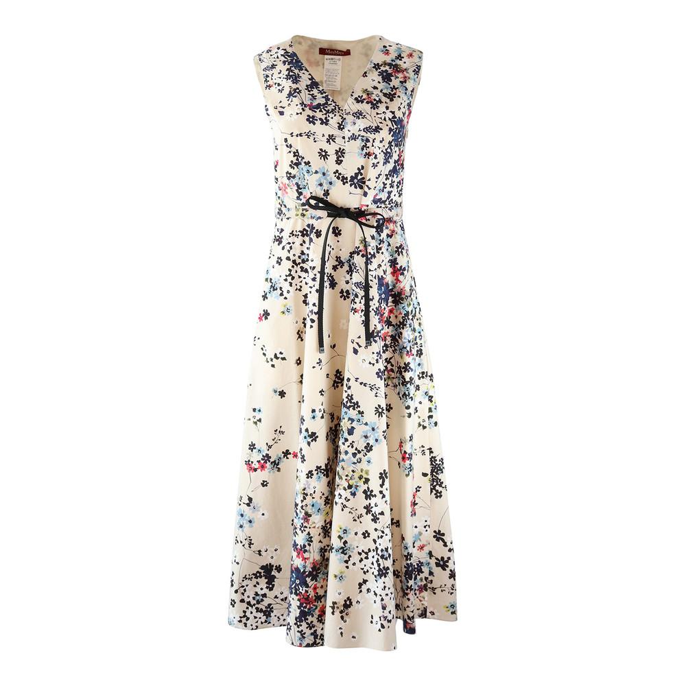 Maxmara Studio Sleeveless V-Neck Floral Dress Beige