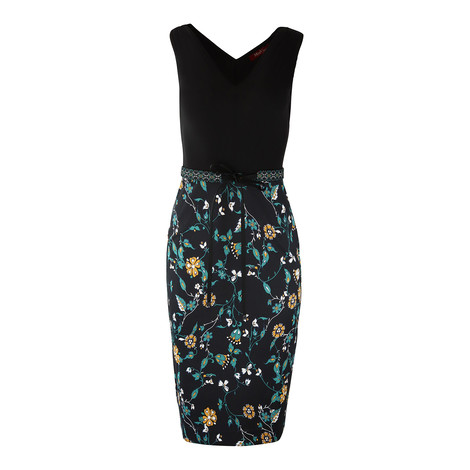 Maxmara Studio Black Floral Sleeveless Dress