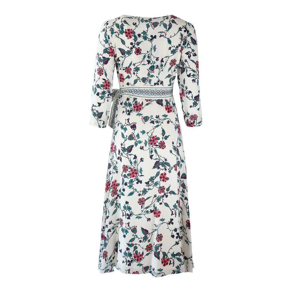 Maxmara Studio 3/4 Sleeve Floral Oriental Dress White