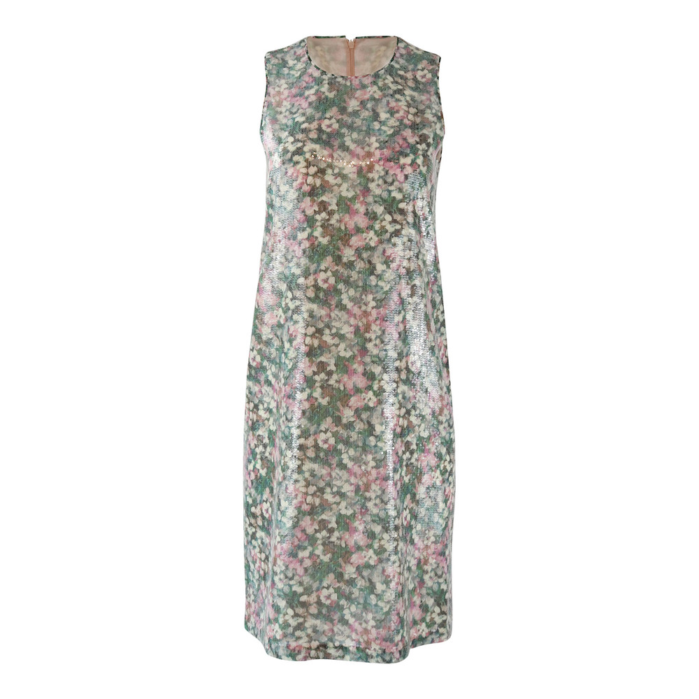 Maxmara Studio Sleeveless Garden Print Sequin Dress with Matching Wrap Green