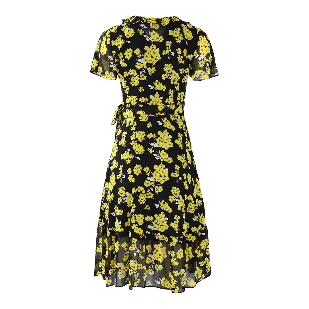 Michael Kors Ruffle Wrap Dress Black and Yellow