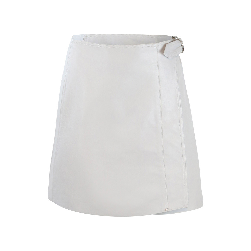 Sportmax Code Light Grey Leather Skirt Light grey