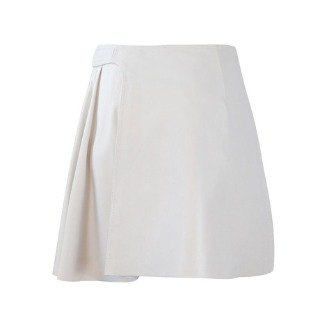 Sportmax Code Light Grey Leather Skirt