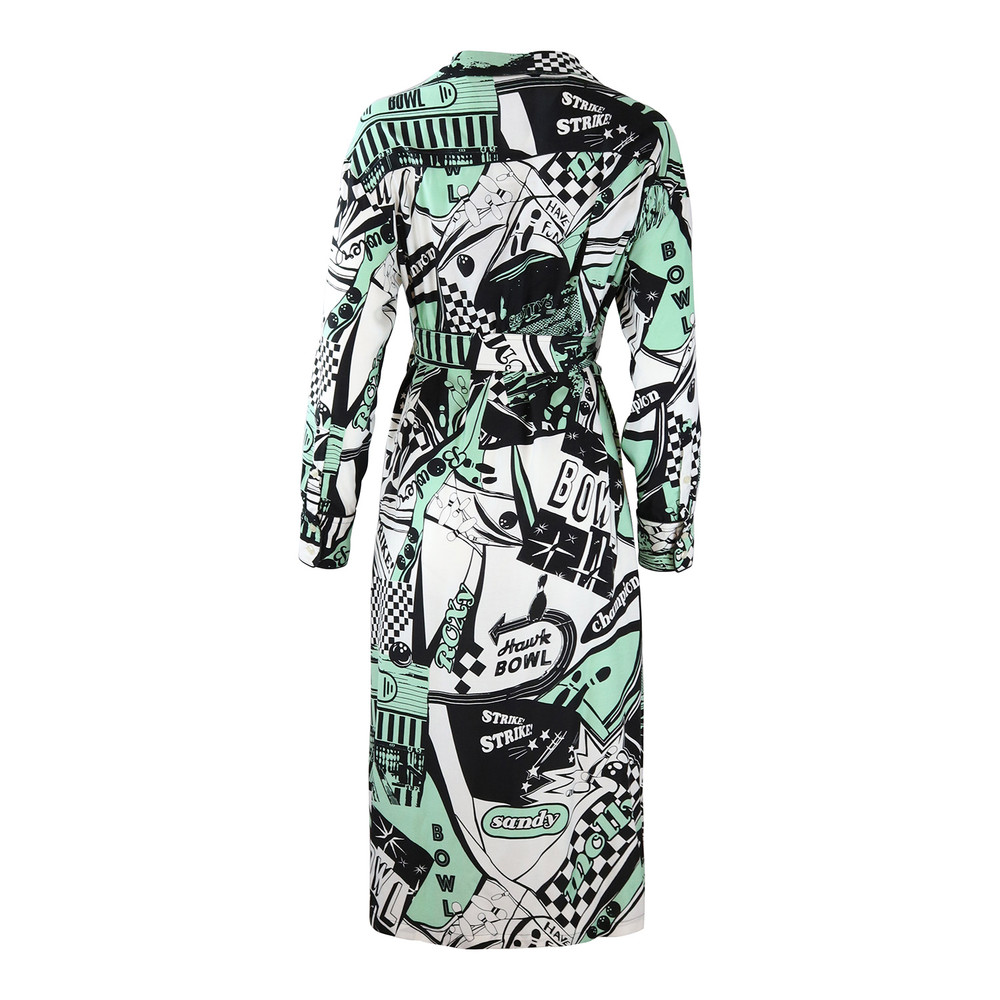 Sportmax Code Bowling Print Graphic Shirt Dress Mint