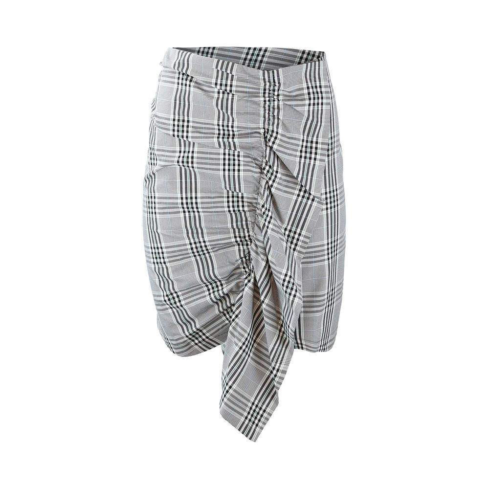 Sportmax Code Prince of Wales Check Frill Skirt Black & White