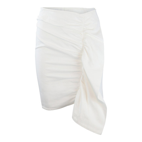 Sportmax Code White Denim Frill Skirt