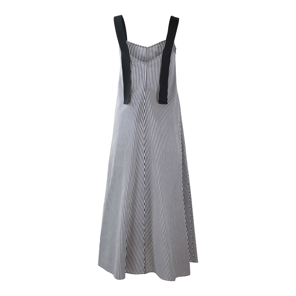 Sportmax Code Striped Maxi Dress Blue and White