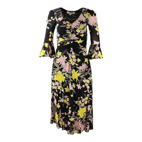 DVF Black Silas Floral Dress