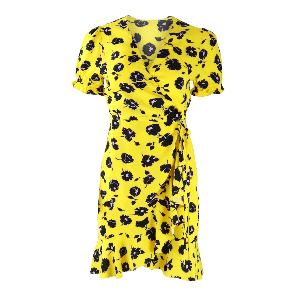 DVF Yellow Kelly Floral Wrap Dress Yellow