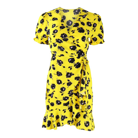DVF Yellow Kelly Floral Wrap Dress