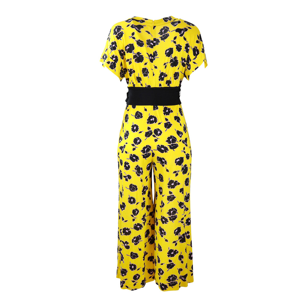 DVF Yellow Evangeline Floral Jumpsuit Yellow