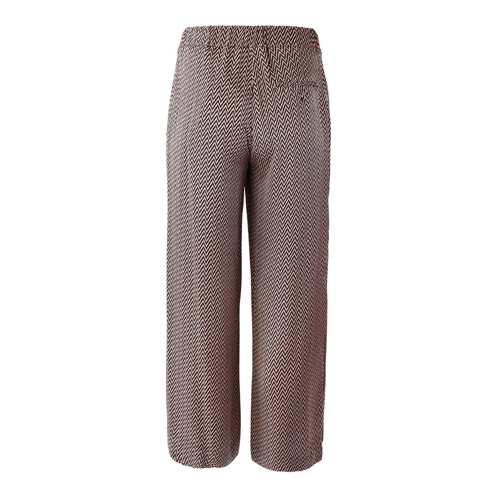 Marella Wide Leg Herringbone Trouser Pink and Black