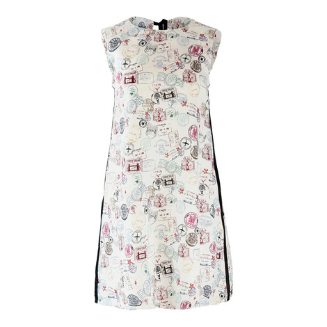 Marella Linen and Cotton Stamp Print Dress