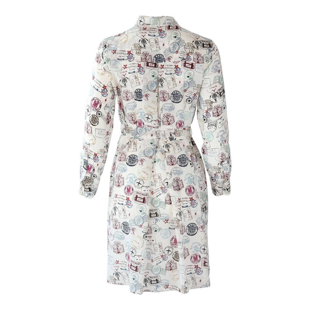 Marella Longsleeve Stamp Print Shirt Dress White