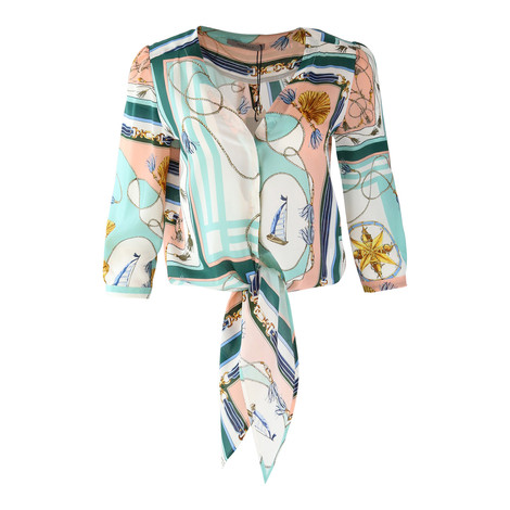 Marella Nautical Print Tie Front Blouse