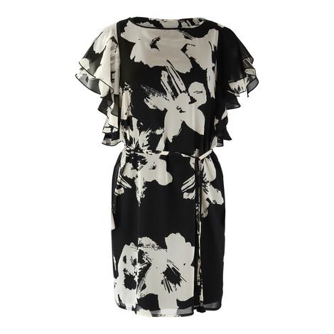Marella Flower Print Frill Sleeve Dress