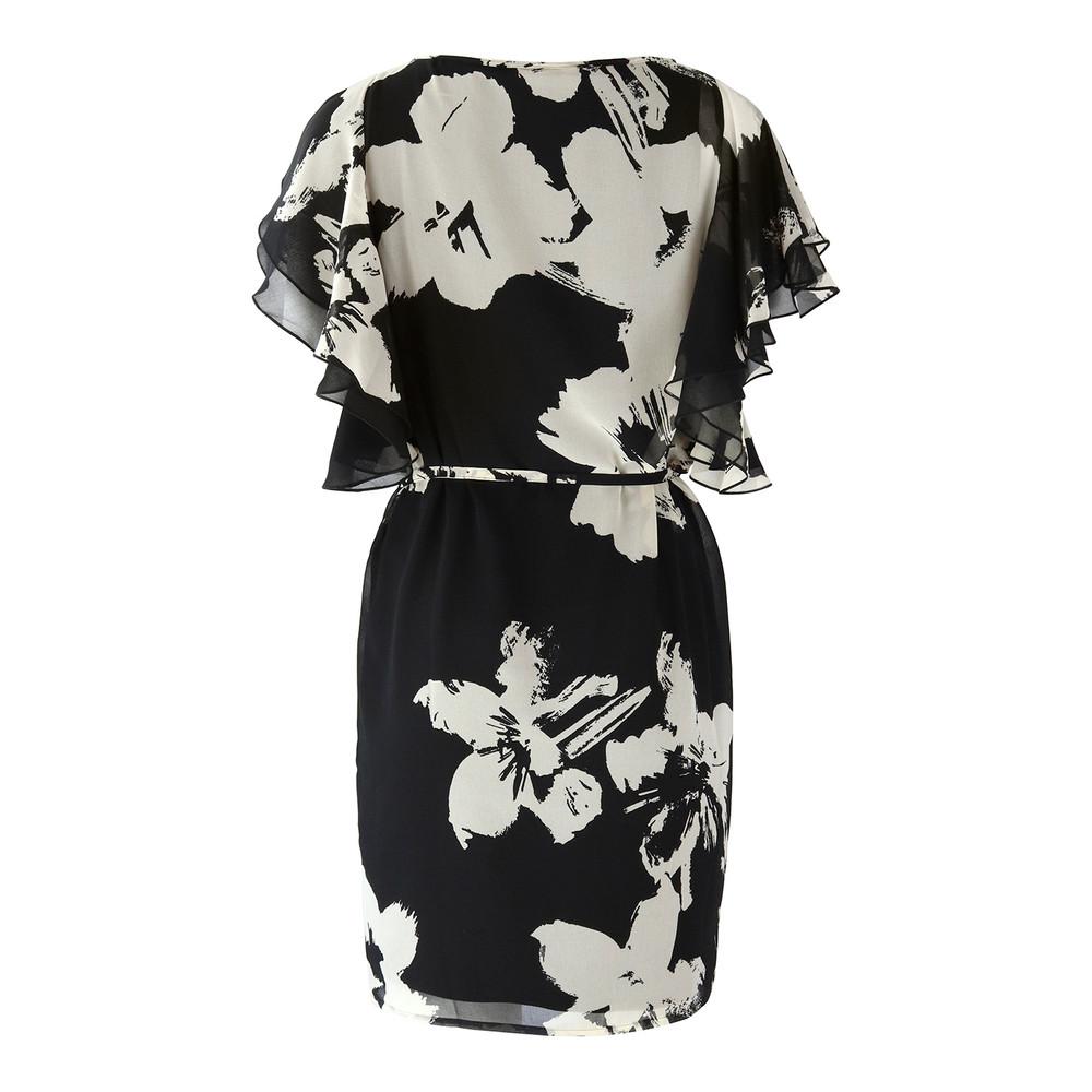 Marella Flower Print Frill Sleeve Dress Black